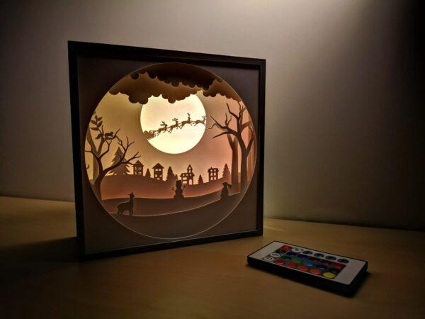 Tabloul luminos 3D shadow box - VINE MOȘ CRĂCIUN
