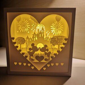 Tablou 3D luminos shadow box Minnie Mickey