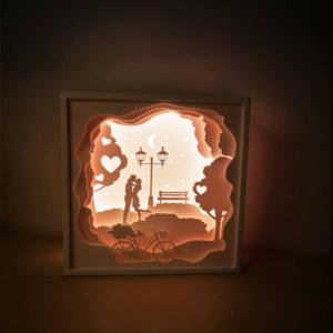 Tablou luminos 3D shadow box - Îndrăgostiții