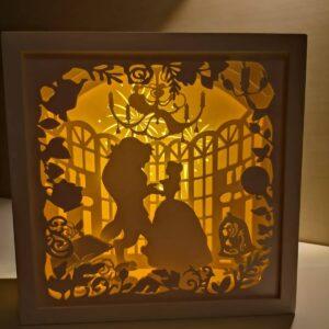 frumoasa și bestia beauty and the beast tablou luminos shadow box