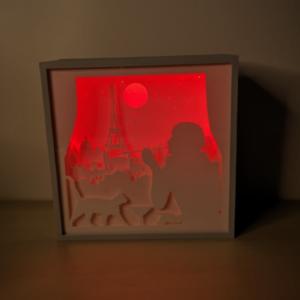 tablou shadowbox_paris-tewnties_rosu