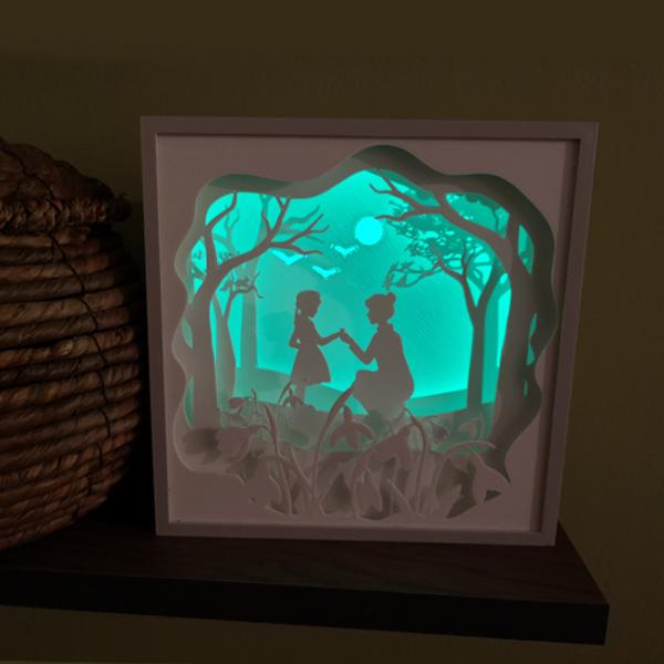 Tablou luminos shadow box - început de primăvară