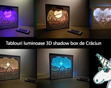 tablouri luminoase shadow box de crăciun