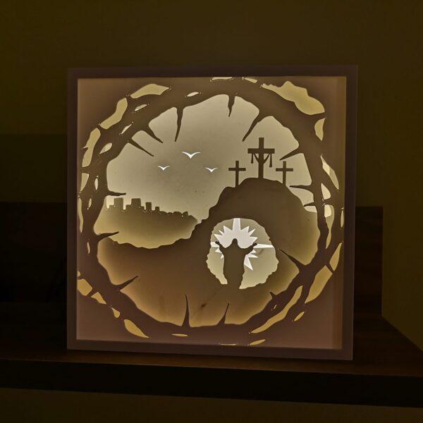 tablou 3d luminos shadow box - Învierea Domnului